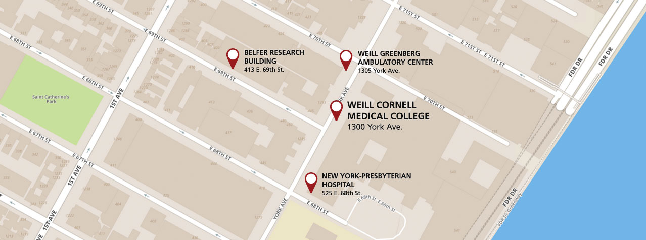 A map of the Weill Cornell Meyer Cancer Center's location