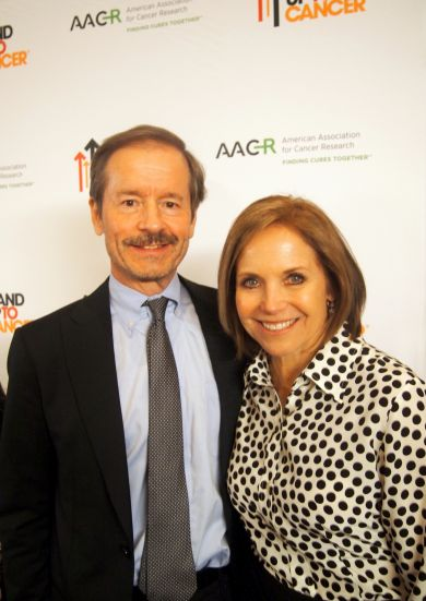 Lew Cantley and Katie Couric at Stand Up to Cancer/AACR announcement event