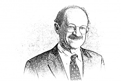 PEncil sketch of Harold Varmus, M.D.