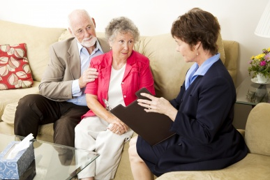 Photo of patient and caregiver with counselor